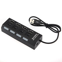switching power compact al por mayor-Retail Box Premium USB 4-Port Hub 2.0 Cargador USB compacto con interruptores de alimentación individuales y LED para PC portátil negro