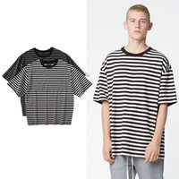 Wholesale urban clothing brands - streetwear fashion men clothes 2017 urban brand clothing oversized striped tshirts korean hip hop casual oversized t shirt tees