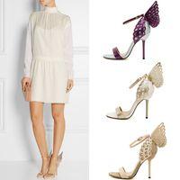 kelebek yüksek topuk ayakkabıları toptan satış-SıCAK !!! Yeni Sophia Webster Üç Boyutlu Fantezi Kadın Ayakkabı Stiletto Topuklu Için Yüksek Topuklu Eşleşen Kelebekler 10.5 cm