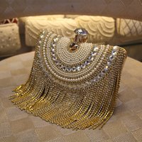 Wholesale Diamante Clutch Bags - 2017 Luxury Designer Clutches Women Gold Evening Bags Long Chain Tassel Shoulder Bag Wedding Party Rhinestone Clutch Purse