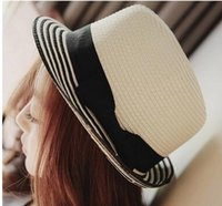 Wholesale Small Brim Hats Men - Summer Korean Style Fashion Black And White Stripes Sun Hat Made Of Straw Men And Women Small Brim Hat