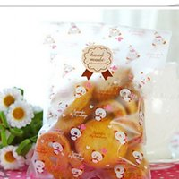 Wholesale Pastry Bags Packaging - 100pcs lot 12*20.5cm Matting bear Baking Packaging Bags Biscuits Toast Cookie and Pastry Flat bag No Ribbon B107 <$18 no tracking