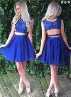 Wholesale Special Occasion Mini Dress - Elegant Royal Blue Short Prom Dresses Beaded Two Pieces Homecoming Party Dresses Vestido De Fiesta Special Occasion Dresses