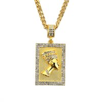 pharao halsketten großhandel-5mm 30inch Edelstahl kubanische Kette neue Männer Iced Out ägyptischen Pharaos Anhänger Halskette Schmuck Bling Bling N673