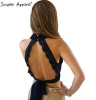 Wholesale Girls Black Top Bow - Simplee Apparel Summer 2017 sexy backless black lace women tank top Girls high neck elegant halter tops Party cute bow crop top