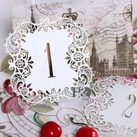 Wholesale Vintage Table Numbers - Wholesale- 10pcs set Ivory Hollow Lace Table Number Table Cards from 1 to 10 Rustic Wedding Centerpieces Decor Vintage Wedding Decoration