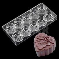 ingrosso stampi a forma di luna-Stampo per dolci a forma di luna di cioccolato a forma di fiore in policarbonato