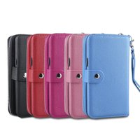 Wholesale wallet phone case galaxy s5 online - For Samsung Galaxy Note8 S8 S8 plus S6 edge S7 edge S5 Zipper Wallet Leather Cell Phone Case Purse With Magnetic Detachable Cover Strap