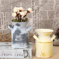 Wholesale Tin Watering Pot - Vintage Nostalgia Mini Garden Shabby Watering Can  Milk Tin Bucket  Flowers Keg Planter Favor Iron Box ZA4829