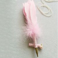 Wholesale Pink Wedding Guest Pen - Pretty Wedding Ostrich White Pink Feather Long Quill Guest Book Signing Pen with Golden Pad Baby Show Casamento Pens Party Supplies ZA1285
