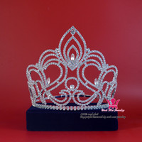 Wholesale Headband Beauty - Pageant Tiara Crown Miss Beauty Winner Queen Crown Bridal Wedding Jewelry Princess tiara Party Prom Night Clup Show Crystal Headband Mo189