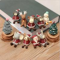 ingrosso ornamenti giardino gatti-Natale Albero di Babbo Natale Orso Decole Gatto Figurine in miniatura Bonsai ornamento decorazione della casa fata giardino fai da te in resina artigianale giocattolo regalo di Natale