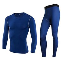 Wholesale Football Neck - 2017 Men Gym Fitness Sports Elastic Stretch Training Suits Mallas Hombre Basketball Football Jersey Compression Running Set