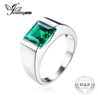 Wholesale created emerald jewelry - Wholesale- JewelryPalace Nano Russian Green Created Emerald Ring For Men Solid 925 Sterling Sliver Jewelry Engagement Wedding Ring For Men