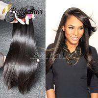 brezilya fabrikası toptan satış-Bella Hair® Factory Toptan Brezilyalı Saç 8A Ipeksi Düz Hint Saç Demetleri Malezya Perulu Bakire Saç 8-34 inç Ücretsiz Nakliye