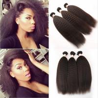 i̇talyan saç örgüsü toptan satış-8A Sınıf Brezilyalı Afro Kinky Düz Saç Uzantıları 3 Adet Lot Ucuz Işlenmemiş İtalyan Kaba Yaki İnsan Saç Dokuma Atkı Demetleri