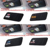 Wholesale Momo Carbon Fiber - Car CD Clips sun shading board carbon fiber  pu car for MoMo Mopar MS MINI logo auto Visor CD casing Packages car styling fit all auto style