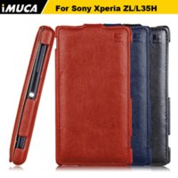 Wholesale Xperia Zl Covers - iMUCA Brand For sony xperia zl L35H C6502 C6503 C6506 for sony zl 35h cases leather Flip Cover Pouch Mobile Phone Cases&bag