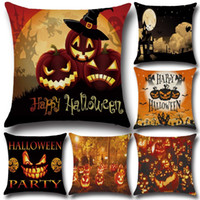 Wholesale case for chair - Hallowmas decorative pillow case Halloween pumpkin demon cotton linen cushion cover for sofa party chair decoration