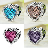Wholesale 925 Ale Sterling Silver Pandora - Heart 925 Ale Sterling Silver Plated Big Hole Loose Beads European Charm Bead Fit Pandora Bracelets&Necklace Jewelry DIY Accessories