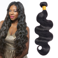Wholesale Double Drawn Hair - Body Wave Wet Wavy Human Hair One Piece Pack Cheap Human Hair Bundle Natural Black Double Drawn Weaves Cheap Hair Extensions