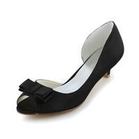 Wholesale Pr Wedding - New fashion wedding shoes low heels black color dyeable satin simple style women's Shoe wedding bridal shoes sandal Bridal Shoes low pr