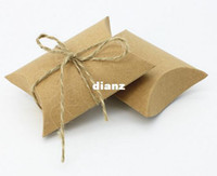 Wholesale Wholesale Party Food Boxes - Fashion Hot Cute Kraft Paper Pillow Favor Gift Box Wedding Party Favour Gift Candy Boxes Paper Gift Box Bags Supply
