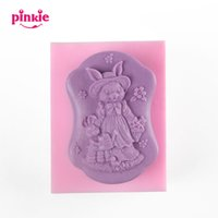 Wholesale Silicone Rabbit Molds - Rabbit flowers Decoration Silicone Molds For Soap Cake Mold Pastry Tools Chocolate Moldes Fondant Baking Accessories