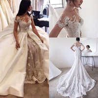 Wholesale Dresses Removable - 2017 Luxury New Overskirts Wedding Dresses Bridal Gowns Lace Pearls Sheer Crew Neck Cap Sleeves Button See Through Back with Removable Skirt