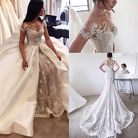 429e0a306b0 Wholesale plus size dresses removable skirt for sale - 2017 Luxury New  Overskirts Wedding Dresses Bridal