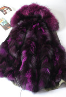 Wholesale Red Fox Coats Xl - Fox fur Liner for Female furs coats MMF women down parkas hooded with real raccoon fur collar
