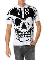 Wholesale Mens Printed T Shirts Sale - 2016 Hot Sale Short PoloShirt Fit Slim Style T-shirt Casual 100% MENS Tee Print Skull Mens T-Shirts PP1021
