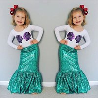 Wholesale Top Short Tight Dresses - Children Sequin Mermaid Sets Clothing Kids Girls 2PCs Suits Dress Outfits Top T-shirt+Tight Skirts Pettiskirt HH-S08