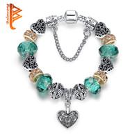 Wholesale murano glass pendants snake - BELAWANG European Fashion 925 Silver Heart Sahpe CZ Pendant Charm Bracelet With Green Murano Glass Beads Bracelets&Bangles Original Jewelry