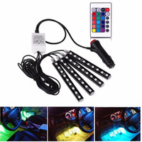 Wholesale 4Pcs V Car RGB LED DRL Strip Light SMD Car Auto Remote Control Decorative Flexible LED Strip Atmosphere Lamp Kit Fog Lamp