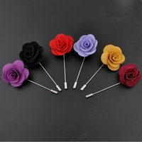 Wholesale Handmade Jewelry Sale - Hot Sale Ribbon Lapel Flower Rose Handmade Boutonniere Brooch Pin Men's Accessories Brooches Pins Jewelry Wholesale 0406WH