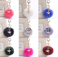 Wholesale Ballerina Keychain - 30 Colors Girl Women Fur Ball Rhinestone Ballerina Keychain Ballet Dancing Girl Handbag Accessories Car Key Chain For Bag 8cm