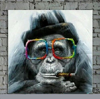 Wholesale Glass Contemporary - Framed Lovely Monkey with glasses,Pure Hand Painted Contemporary Asian Art Oil Painting On Quality Canvas Multi sizes Available moore2012