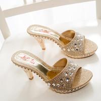 Wholesale Ladies Sandals High Heels - Wholesale Summer Fashion Shoes Woman Rhinestone High Heel Sandals Women Slippers Sandalias Ladies Shoes Size 35-39 TX0141