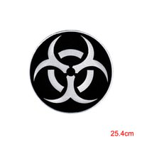 Wholesale Large Iron Patches - LARGE BIOHAZARD RADIATION SYMBOL EMBROIDERED IRON-ON BLACK patch WARNING SIGN