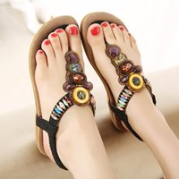 Wholesale Beaded Flat Sandal - 2016 Summer New Bohemia Style Shoes Fashion Women Casual Sandals Beaded Brand flat with Shoes for Lady size 35-42