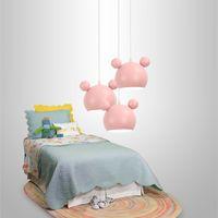 luzes de ferro rosa venda por atacado-Estilo coreano jardim de infância luzes rosa pingente E27 1-3 pcs Quarto do bebê Modern ferro pendurado lâmpada Princesa Menina crianças luminárias