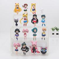 Wholesale Venus Figure - 16pcs lot 6-8cm Kawaii Sailor Moon Figures Tsukino Usagi Sailor Mars Mercury Jupiter Venus brinqudeos PVC model doll Figure Toys