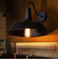 Wholesale E27 Pot Lights - RH Brief Black Iron Industural Vintage Wall Lights Pot Lid Shape Novelty Hot Selling Aisle Room Wall Lamp E27 Edison Bulb