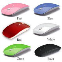 süper ince kablosuz fare toptan satış-2016 kablosuz Mouse Ultra İnce USB Bilgisayar PC Dizüstü Masaüstü 6 renk Fareler 1adet / lot için Optik 2.4G Alıcı Süper İnce Fare