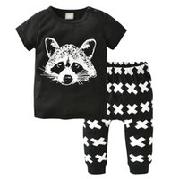Wholesale Rock Fashion Boy - Cool handsome boy fox outfits T-shirt + Pant 2 Pieces outfit X trousers all balck rock style fashion kid toddler boys clothes wholesale