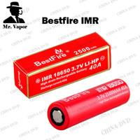 Wholesale Best Adjustable Ecig Battery - Bestfire IMR 18650 2500mAh Battery 40A Best Fire ecig Vape Batteries with Red Colors Fit SMOK X Cube II Kangertech Subox Mini Nano