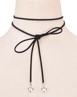 Wholesale faux suede necklace - 7 Colors Black Faux Suede Wrap Choker For Women Long DIY Necklace Tattoo Peach Heart Tassel Necklace Set Simple Pendant for Women xr160798-8