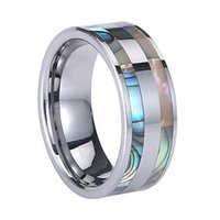 Wholesale Flat Abalone - New Trendy!!! Luxury Jewelry 8mm High Quality Tungsten Carbide Ring with Abalone Shell Flat High Polished Comfort Fit Bands