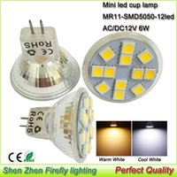 5x LED tasse ampoule lampe mini verre Mr11 Smd5050 * 12leds 6W projecteurs lampada led ampoules AC Dc 12 volts led spots